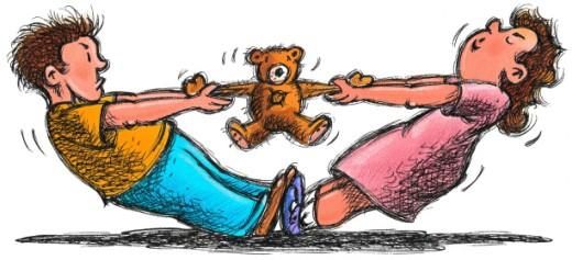 Teddy Bear Tug-of-War : Stock Photo
