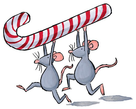 Stock Photo: 1598R-91673 Mice Carrying Candy Cane