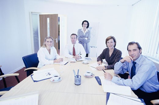 Stock Photo: 1598R-94410 Group of business colleagues having meeting in office