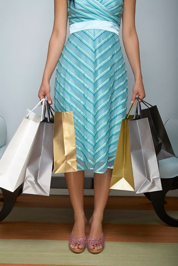 Stock Photo: 1598R-9534 Young woman holding shopping bags, low section