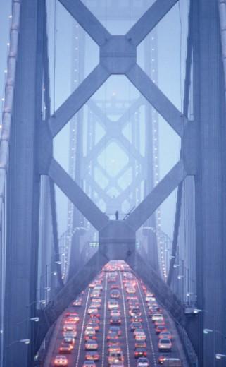 Stock Photo: 1598R-97241 Cars passing through Bay Bridge, San Francisco, USA