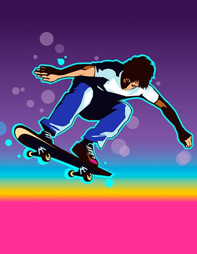 Young male skateboarder in midair, arms outstretched : Stock Photo