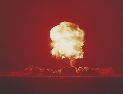 Stock Photo: 1598R-9940886 Nuclear Bomb Test, Nevada, June 18 1957
