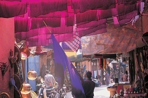 Colourful Textile Hanging in Bazaar, Marrakech, Morocco, Africa : Stock Photo