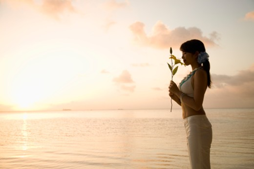 Young woman holding and smelling flower on beach at sunset, profile : Stock Photo