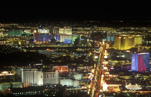Stock Photo: 1598R-9945422 'View of the strip at night from the Stratosphere Tower, NV'