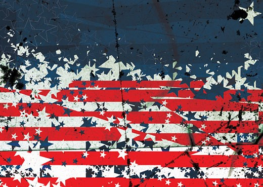 Choatic Digital Image of the Stars and Stripes : Stock Photo