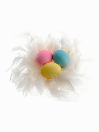 Stock Photo: 1598R-9946414 Three easter eggs on white feathers