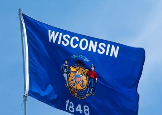 State Flag of Wisconsin : Stock Photo