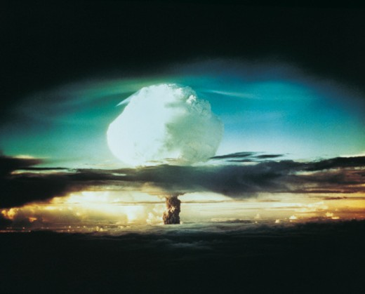 Nuclear Bomb Test, Bikini atoll and Enewetak, October 21 1952 : Stock Photo