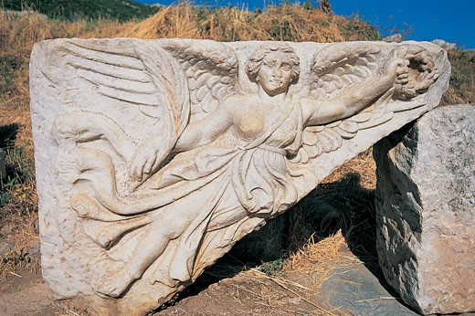 Stone Carving of the Greek Goddess Nike, Ephesus, Turkey : Stock Photo