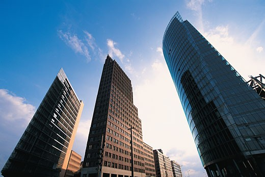 Low Angle View of Three Skyscrapers, Berlin, Germany : Stock Photo