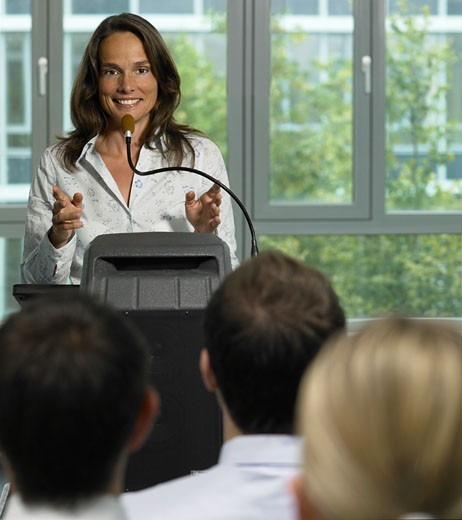 Stock Photo: 1598R-9951551 Businesswoman having presentation in front of businesspeople