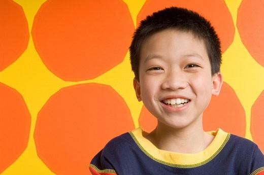 Boy (8-10) smiling, portrait : Stock Photo