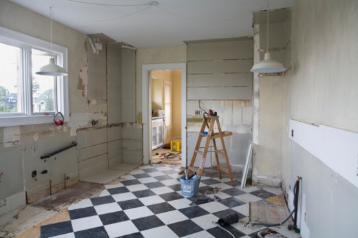 Stock Photo: 1598R-9953194 Damaged kitchen interior before restoration