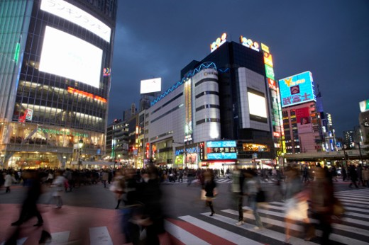 Stock Photo: 1598R-9953859 Buildings in a Busy City Street, Japan