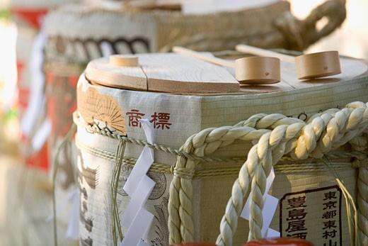 Stock Photo: 1598R-9954296 Japan, saki barrels, close-up