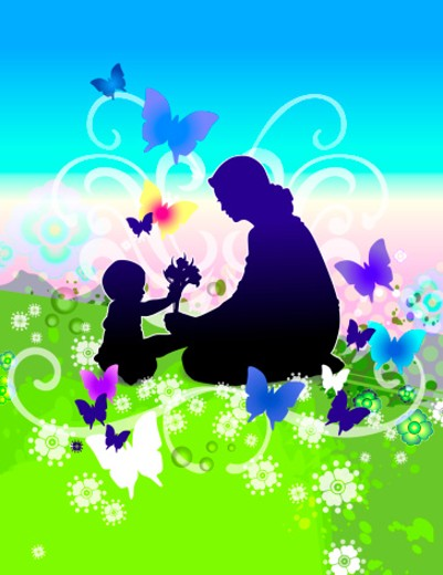 Silhouette of mother and daughter picking flowers in field : Stock Photo