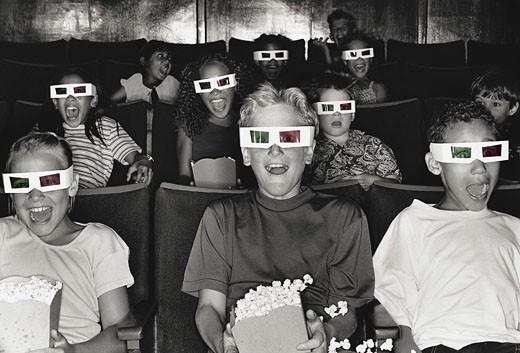 Stock Photo: 1598R-9957375 Children Watching 3-D Movie