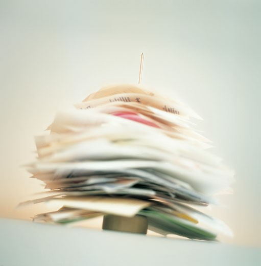 Stack of Papers and Receipts on a Letter Spike : Stock Photo