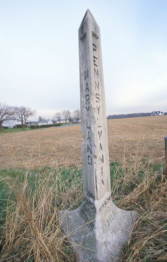 Marker at the Mason Dixon line separating North from South during Civil War at Pennsylvania and Maryland : Stock Photo