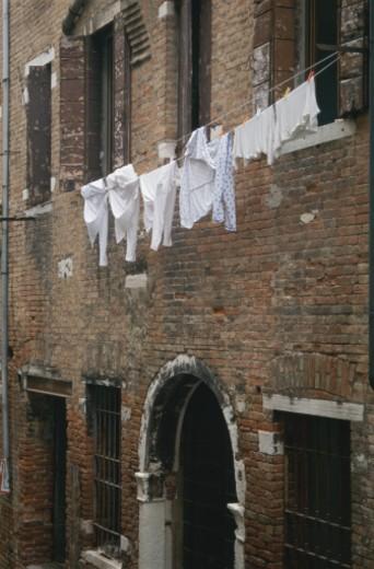Italy, Veneto, Venice, laundry hanging on clothesline : Stock Photo