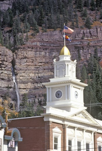 'Little Switzerland, Walsh Library and Waterfall, Ouray, Colorado' : Stock Photo