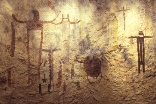'Pictograph rock art at Seminole State Historical Park, TX' : Stock Photo