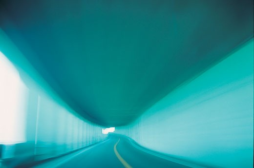 Blurred highway in underpass : Stock Photo