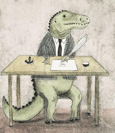Dinosaur signing paperwork : Stock Photo