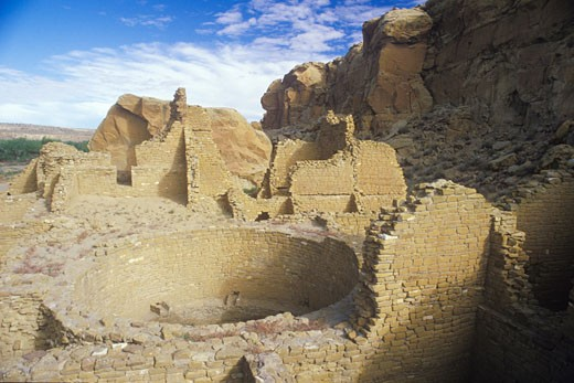 Stock Photo: 1598R-9963115 'Chaco Canyon Indian ruins, NM, circa 1060, The Center of Indian Civilization, NM'
