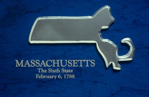 Silver Map of Massachusetts : Stock Photo