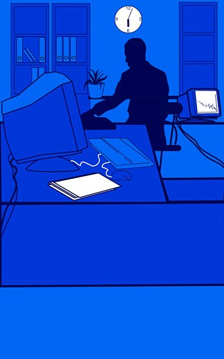 Stock Photo: 1598R-9963987 Blue male figure working at desk in office