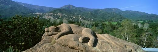 Stock Photo: 1598R-9964484 'Lion Rock Sculpture, Center for Earth Concerns, Ojai, California'