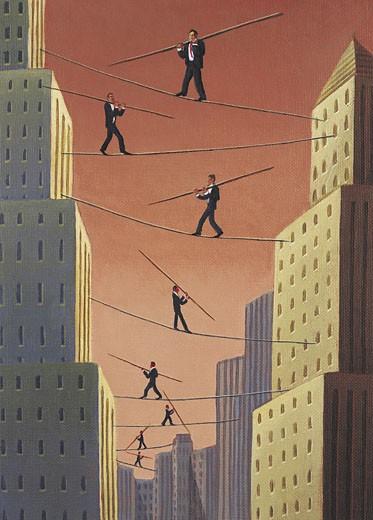 Stock Photo: 1598R-9965023 Businessman's Balancing Act