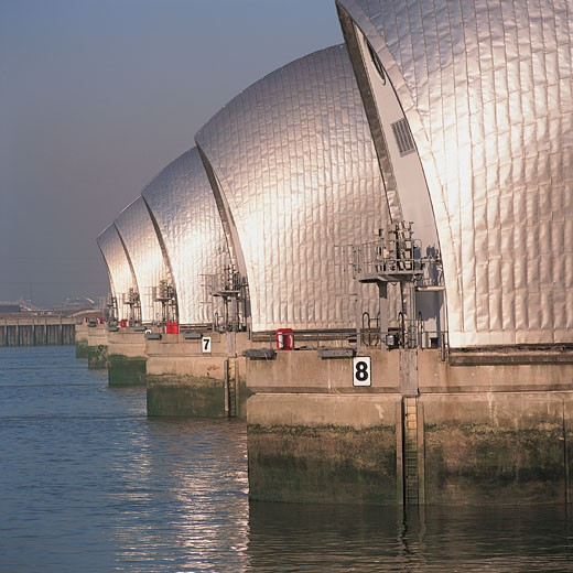 Thames Barrier Spans 520 Meters Across the River Thames : Stock Photo