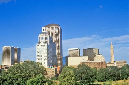 'State capital of Hartford skyline, Hartford, Connecticut' : Stock Photo