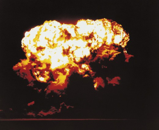 Nuclear Bomb Test, Nevada, July 24 1957 : Stock Photo