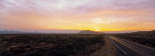 USA, Texas, Big Bend National Park, sunrise over Sierra Del Carmen Mountains : Stock Photo