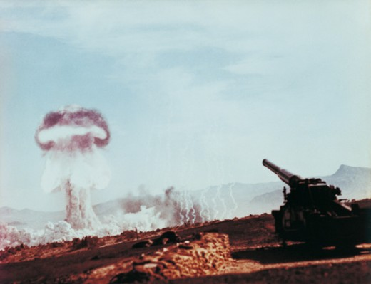Nuclear Bomb Test, Nevada Desert, May 25 1953 : Stock Photo
