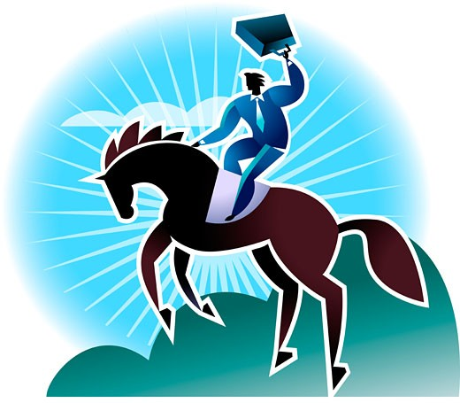 Businessman riding horse : Stock Photo