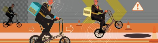 Businessmen riding bicycles : Stock Photo