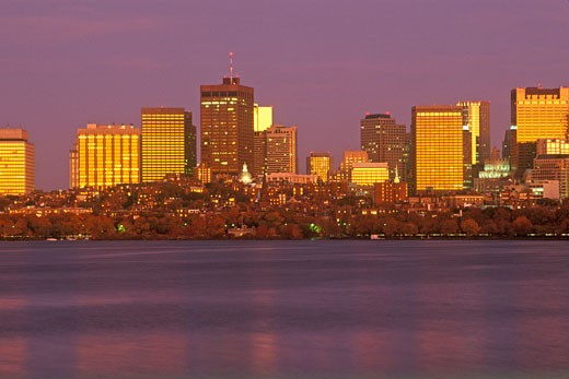 'Skyline From Charles River, Boston, Massachusetts' : Stock Photo