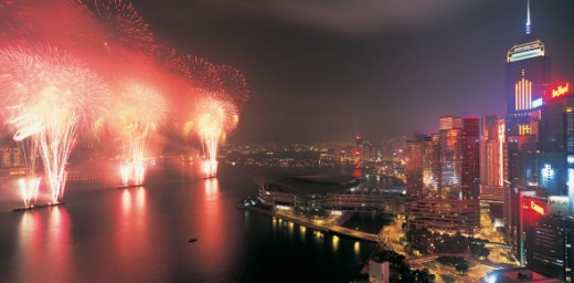 Firework Display on Chinese New Year, Hong Kong, China : Stock Photo