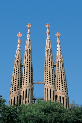Construction Work on Spires of the Sagrada Familia, Barcelona, Spain : Stock Photo