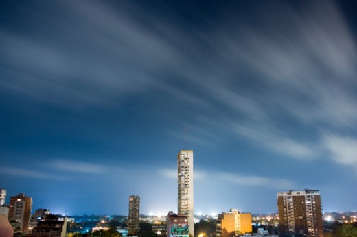 Stock Photo: 1598R-9971326 Argenina, Buenos Aires skyline at night