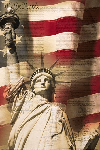 Stock Photo: 1598R-9971529 Digital composite: Statue of Liberty and American flag is underlaid with the handwriting of the US Constitution