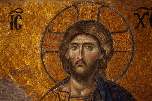 Stock Photo: 1598R-9973335 Mosaic of Christ, Santa Sofia, Istanbul, Turkey