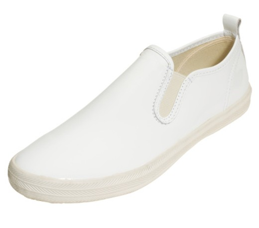 Stock Photo: 1598R-9973713 White shiny slip on shoe with rubber sole, close-up