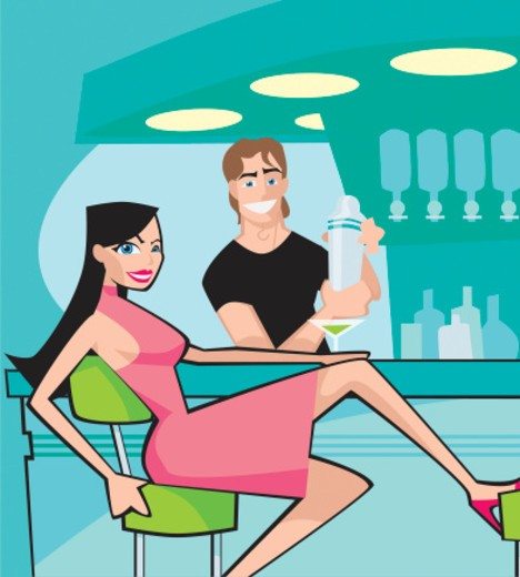 Stock Photo: 1598R-9973729 Portrait of a Woman Winking at a Bar Counter Whilst She Flirts With the Barman